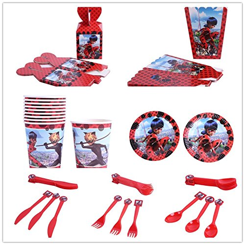 7 SET Cartoon Miraculous Ladybug Theme Tableware Set Kids Birthday Party Supplie