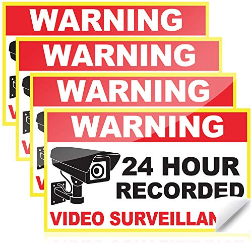 Video Surveillance Sticker or Camera Stickers 6 x 3.5 Inches Waterproof Sticker Outdoor Sticker Pack or Door Sticker for Home Security System or Vinyl Sticker Pack for your Home Security Camera System