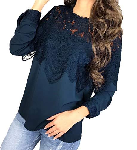 Maglietta Casual Lunga Donne In Simple Tee Primavera A Moda Blu Bluse Camicie Giovane Pizzo Autunno Cucitura Manica Cime Tops fashion Maglie Shirts E I4R4w7a