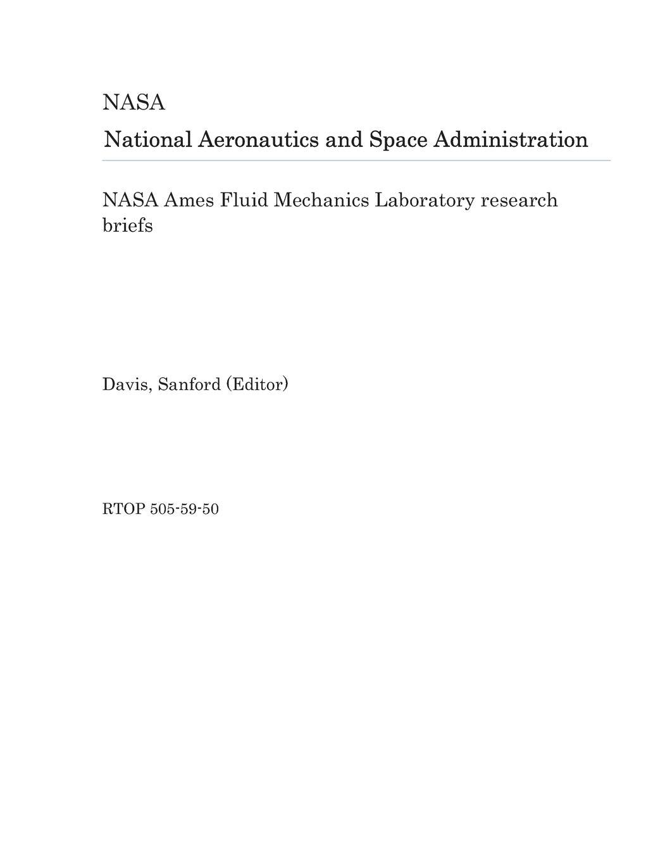 NASA Ames Fluid Mechanics Laboratory research briefs