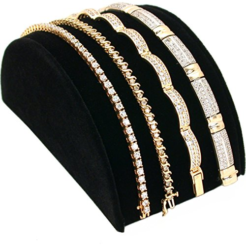 Black Velvet Bracelet Half Moon Display Ramp Stand 5