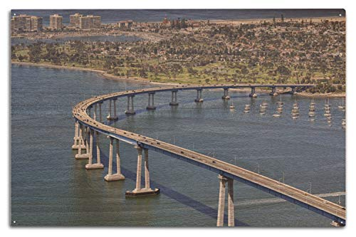 (Lantern Press San Diego, California - Aerial View of Coronado Bay Bridge - Photography A-92862 (10x15 Wood Wall Sign, Wall Decor Ready to Hang))