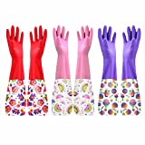 3 Pair Rubber Gloves Cleaning Gloves Waterproof Gloves Winter Kitchen Gloves