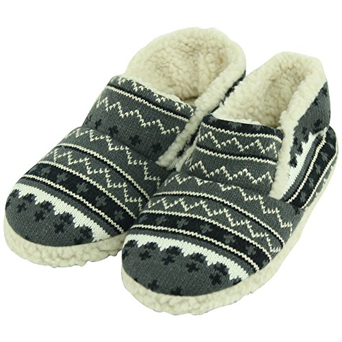 Forfoot Women's Sweater Knit Sherpa Fleece Lined Slip-On Indoor House Bedroom Clog Slippers Dark Grey US Women's Size 11