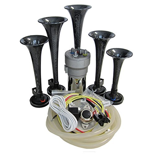 Dixie Air Horn Carbon Fiber Look - Dixieland Premium Full 12 Note Version with Installation Wire Kit and (Dukes Of Hazzard Horns)