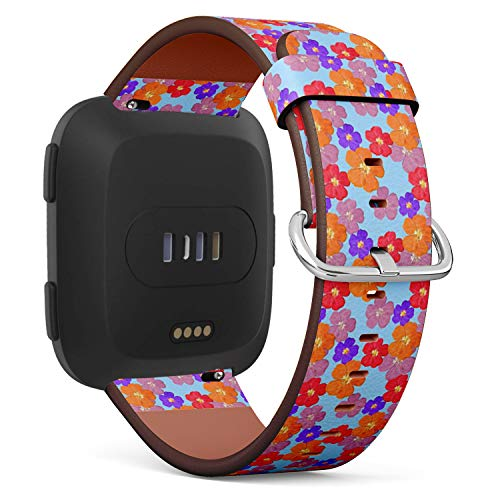 Compatible with Fitbit Versa - Quick-Release Leather Band Bracelet Strap Wristband Replacement - Briar Wild Rose Texture Flowers