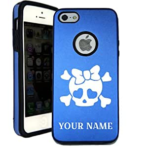 SudysAccessories Personalized Customized Custom Heart Skull Bow iPhone 5 Case iPhone 5S Case - MetalTouch Blue Aluminium Shell With Silicone Inner Protective Designer Case-Personalized For FREE(Send us an Amazon email after purchase with your choice of NAME)