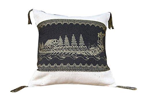 RaanPahMuang Thai Boat Art Throw Pillow Case 16in Silk Motif on Cotton Set of 3, Black on Cream by Raan Pah Muang