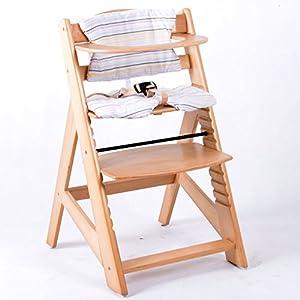 Chaise Haute en bois Ajustable Chaise bébé Escalier chaise haute NATURE HC2533-D01 Creme 7