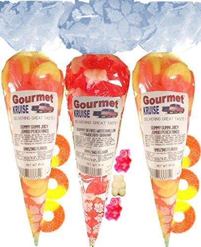 Gummy Rings (2) Jumbo Peach (1) Ripe Pink Watermelon White Strawberry Banana Gummi Bears (NET WT 31 OZ) Gourmet Kruise Signature Gift Bags -