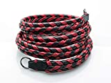 Vi Vante Ultime Phoenix; Red & Black Braided Top Grain Leather Designer Camera Strap w/Electroplated Mounting Rings & Branded Carry Pouch