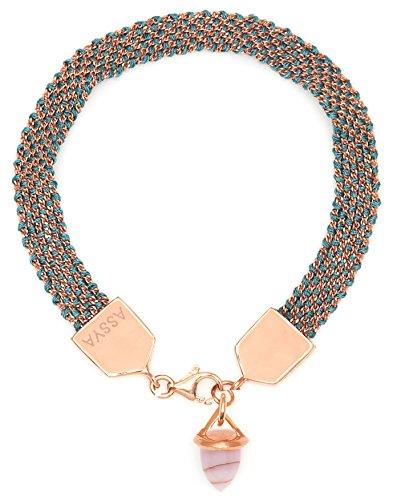 Assya Bracelet tissé Or rose et bleu sarcelle Avec breloque en opale en forme de balle Longueur de 18cm