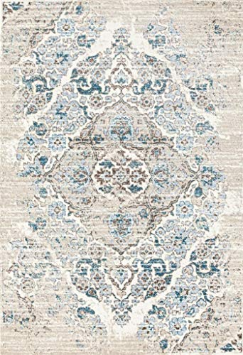 (4620 Distressed Cream 6'5x9'2 Area Rug Carpet Large New)