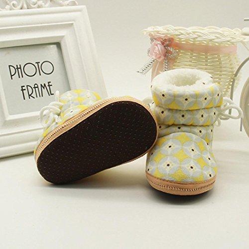 ❆HUHU833 Kinder Mode Baby Stiefel Soft Sole, Schnee Stiefel, Drucken Stiefel, Soft Crib Schuhe Kleinkind Stiefel Warm Schuhe Gelb