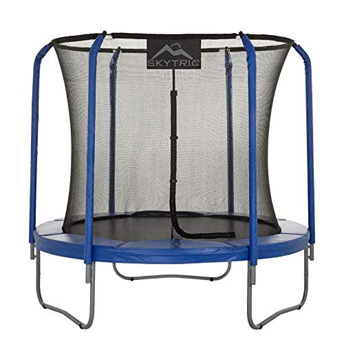 SKYTRIC Trampoline with Top Ring Enclosure System equipped with the EASY ASSEMBLE FEATURE, 8-Feet