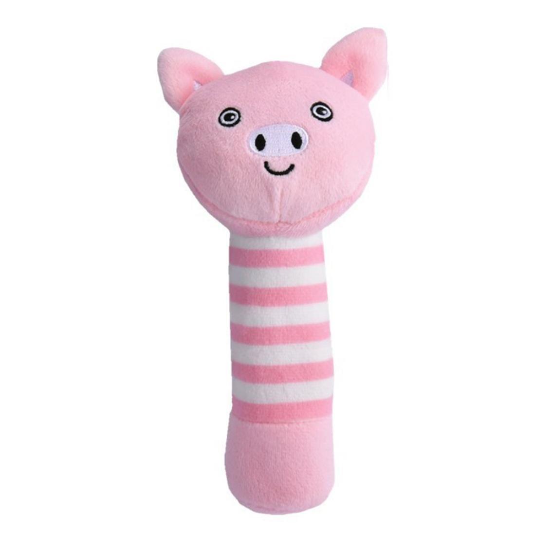 GBSELL ベビー 乳幼児 ソフト フラシ天 動物 ラトル ハンドベル 発達玩具 1-3 Year  豚 B07DXZ8CW6