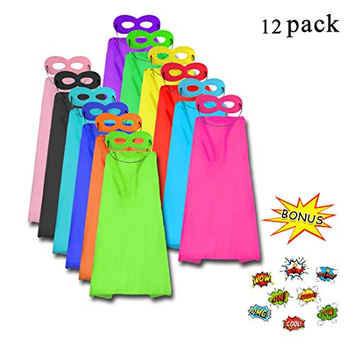 Superhero Capes and Masks for Kids Party Supplies-Boys Girls Dress up Costume with 120 Stickers,12 Bulk Pack by D.Q.Z