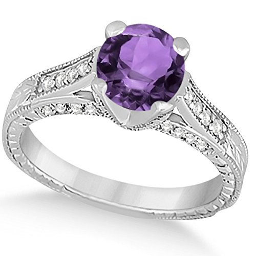 (1.40ct) 14k White Gold Diamond and Amethyst Antique Cathedral Braided Rope Engagement Ring