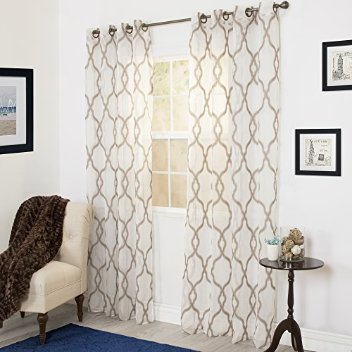 Lavish Home Elisa Emboidered Curtain Panel – 108 Inch – Taupe