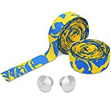 TOPCABIN Camouflage Series Comfort GEL Road Bike Handlebar Tape Bike Bar Tape with Reflective Bar Plugs (Yellow-Blue) a pair