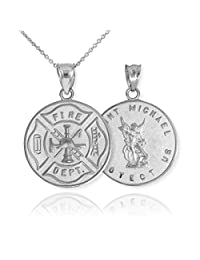 """925 Sterling Silver Fireman Protection Shield Medal of St Michael Firefighter Pendant Necklace, 22"""""""