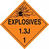 Accuform Signs MPL124VP50 Plastic Hazard Class 1/Division 3J DOT Placard, Legend ''EXPLOSIVES 1.3J 1'' with Graphic, 10-3/4'' Width x 10-3/4'' Length, Black on Orange (Pack of 50)