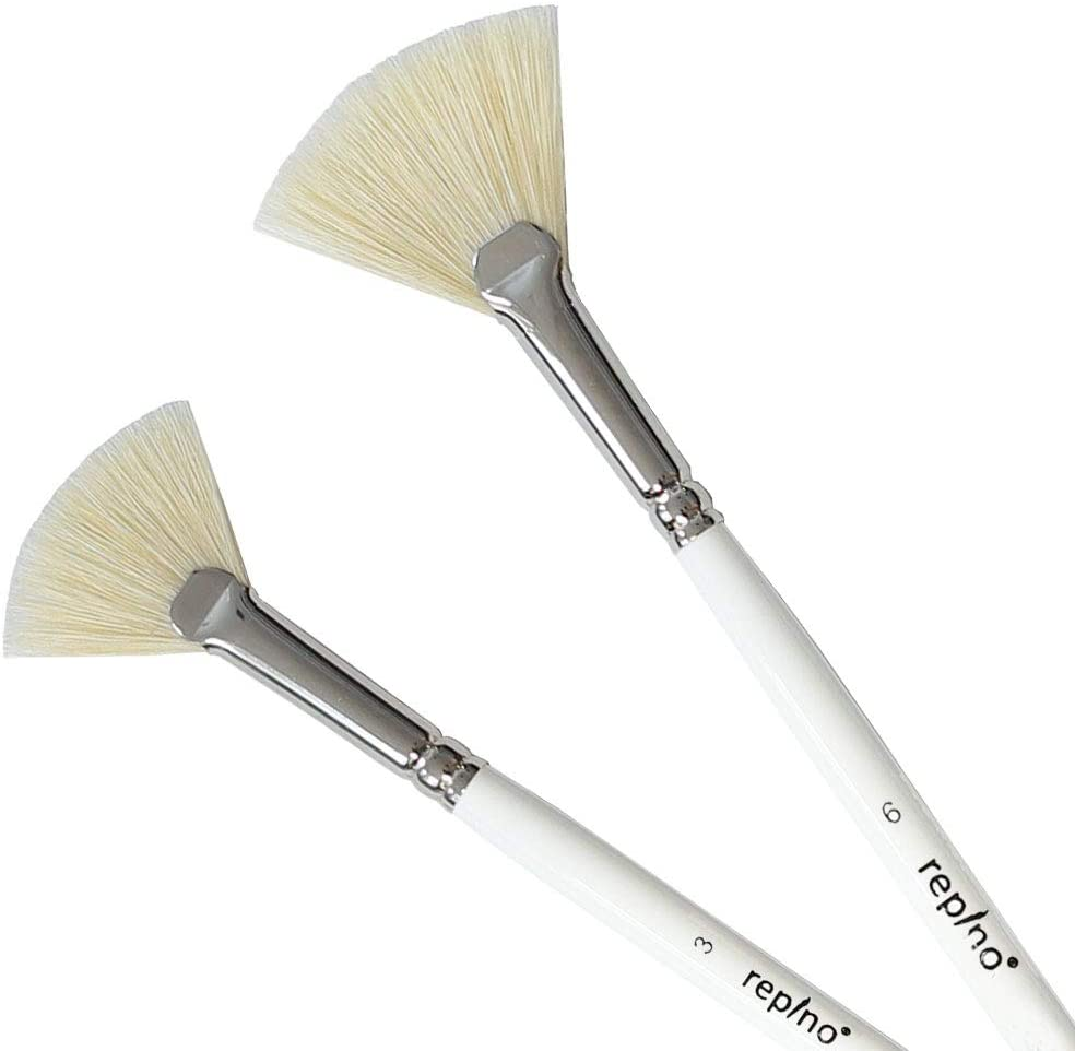 Repino Fan Brush Set of 2 - Size #3 and #6 - Professional Artist Paint Brushes for Oil Painting