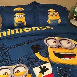 Lotus Karen Despicable Me Minions 100% Cotton 4-piece Kids Cartoon Bedding Sets,1Duvet Cover,1Bedsheet,2Pillow Shames