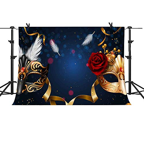 Birthday Party Thin Vinyl Photography Backdrop MEMETY 10X7ft Fantasy Golden Mask Background New Exotic Masquerade Party Prop Photography Backdrops GEME794 -