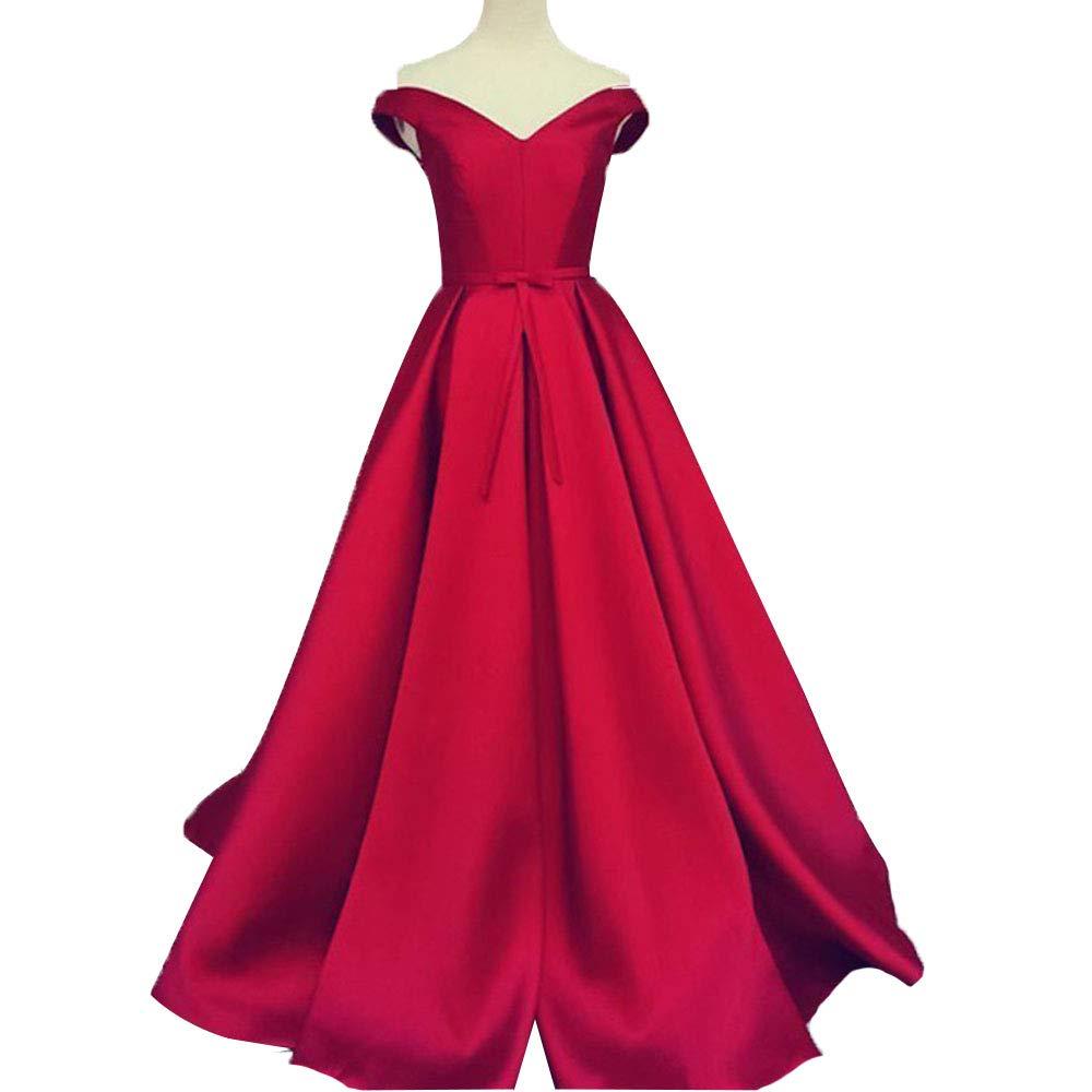 Burgundy Promworld Women's Off the Shoulder Evening Dress Satin Lace Up A Line Prom Formal Dress