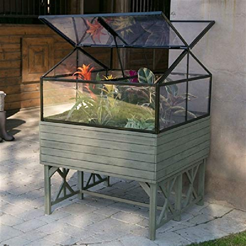 Elevated Raised Bed Garden Cold-Frame Greenhouse Kit in Driftwood Finish New Good Elegant Classic Sturdy CHOOSEandBUY