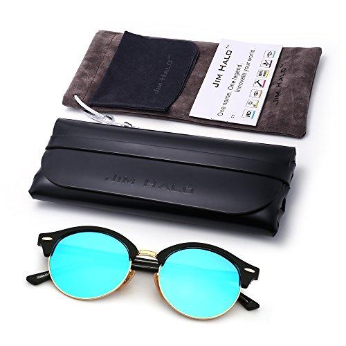 de Azul Redondas Brillante Hombre Negro Para Gafas Sin Polarizadas Espejo Retro Marco Mujer Sol Semi Browline 0xa4Zxqw