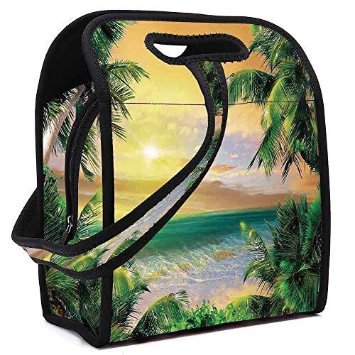 Mystic House Decor Printing Neoprene Lunch Bag,Baldwin Beach Coastline Sunbeams Through Heavy Clouds Wavy Ocean View for Work Outdoor Travel Picnic,Square(8.5''L x 5.5''W x 11''H)