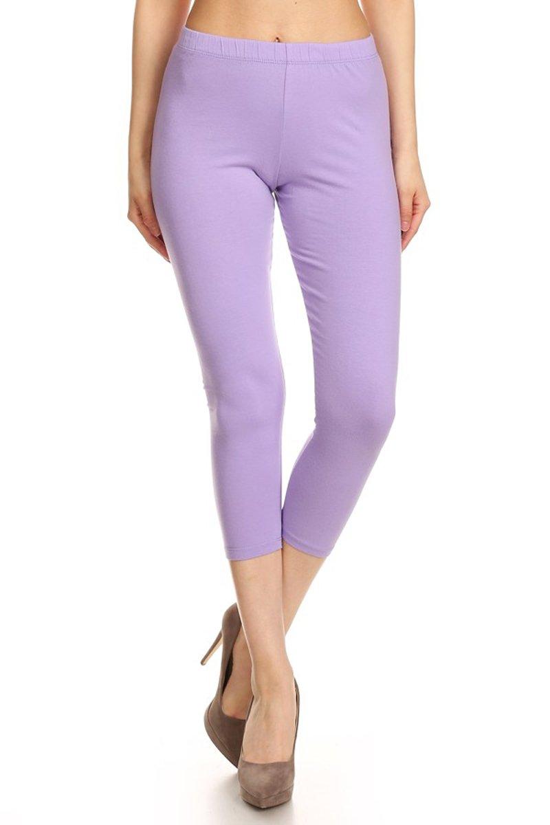 3942e924ce0222 Leggings Depot NCL27-Lilac-XL Solid Capri Yoga Pants < Leggings < Clothing,  Shoes & Jewelry - tibs