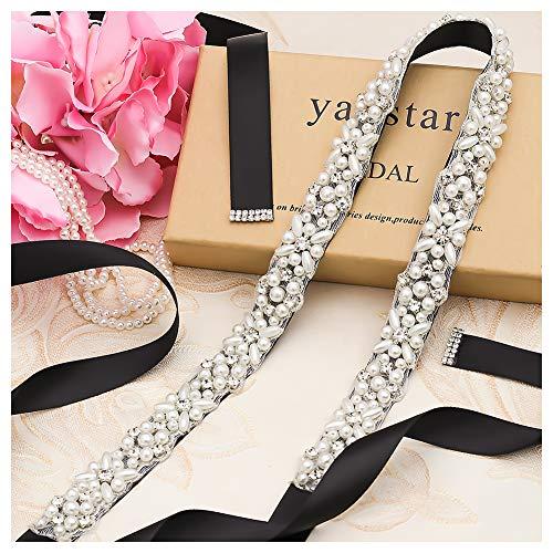 Yanstar Silver Pearl Rhinestone Wedding Bridal Belt Sash with Black Ribbon for Bride