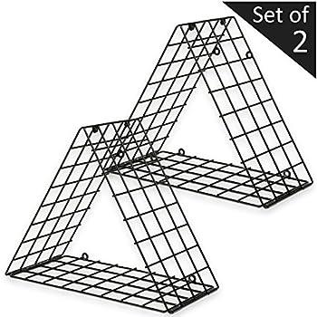 Set of 2 Triangle Black Metal Grid Floating Shelves Wall Mountable Display Racks
