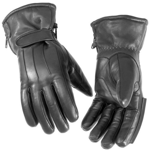 River Road Mens Glove - River Road Taos Men's Cold Weather Leather Cruiser Motorcycle Gloves - Black / 3X-Large