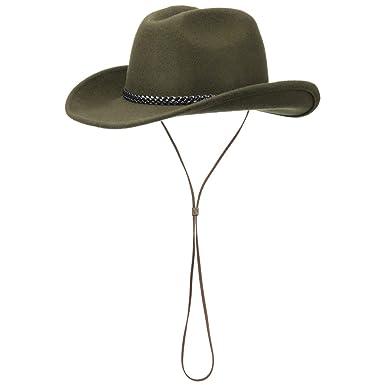 Lipodo Cowboy Hat with Chin Strap Wool Felt  Amazon.co.uk  Clothing d14bfdb86b4
