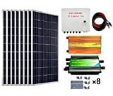 ECO-WORTHY 800 Watts Solar Panel Kit: 8pcs 100W Poly Solar Panel + 3KW 24V-110V Off Grid Inverter + Combiner Box + 15ft Solar Cable + 45A PWM Charge Controller + Z Mounting Brackets Best Selling Off Grid Gear ECO-WORTHY