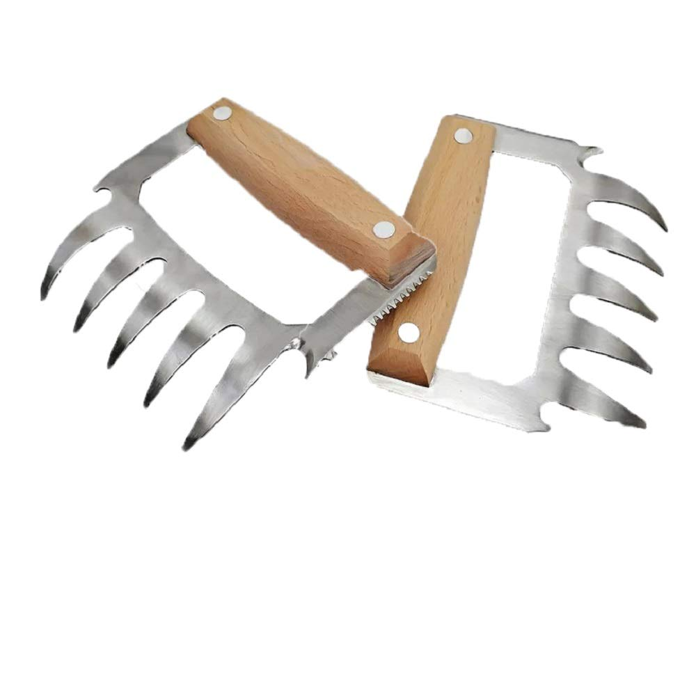 LOMONI Barbecue Claws BBQ Meat Chopper Kitchen Steak Chicken Lamb Pork Processing Beef, 2 Pieces (4.8in3.9in, Wood Color)