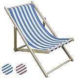Woodside Foldable Wooden Beach Deck Chair Garden Patio Lounger Light Blue & White Stripe