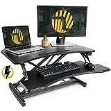 Electric Standing Desk Converter – FEZIBO 34'' Black Height Adjustable Stand Up Power Riser Desktop Workstation fits Dual Monitor