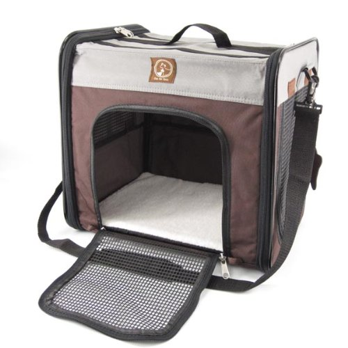 One for Pets Folding Pet Carrier, The Cube, Large, Grey/Brown
