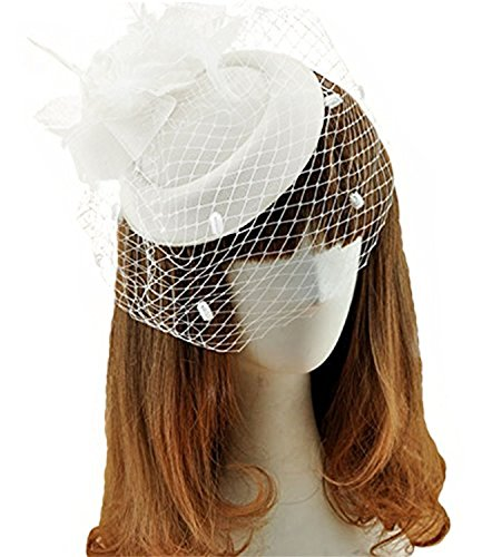White Hats And Fascinators (Fascinator Hats Pillbox Hat British Bowler Hat Feather Flower Veil Wedding Hat (white))