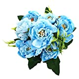 SOLEDI Silk Peony Fake 5 Heads Artificial Flower Bunch Bouquet Home Hotel Wedding Party Decor (Blue)