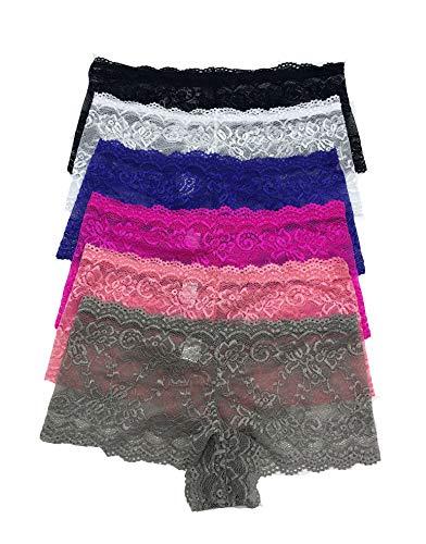 (Iheyi 6 Pack of Women's Regular & Plus Size Lace Boyshort Panties Panty Underwear (Small))