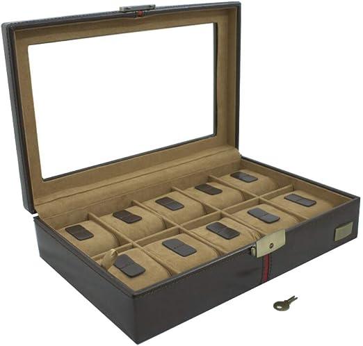 CORDAYS - Estuche Relojero Deluxe en Piel para 10 Relojes con Vitrina de Cristal Caja Organizadora Relojes – Edición Coleccionista - Hecho a Mano - en Color Marrón CDM-00003A: Cordays: Amazon.es: Joyería