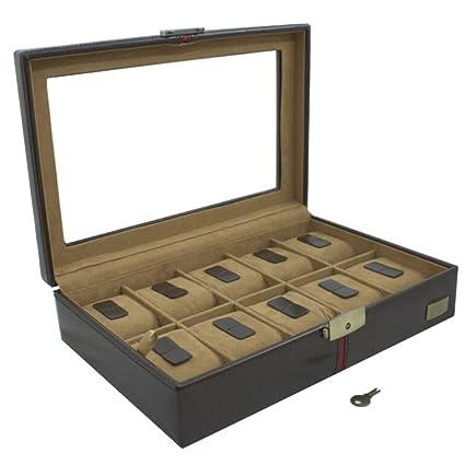 CORDAYS - Estuche Relojero Deluxe en Piel para 10 Relojes con Vitrina de Cristal Caja Organizadora de Relojes- Edición Coleccionista - Hecho a Mano ...