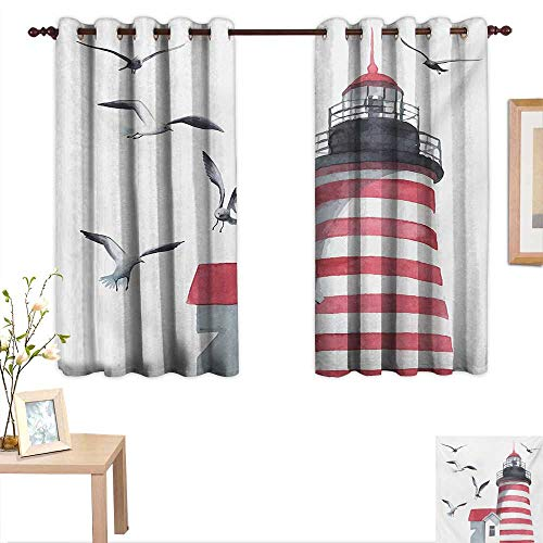 Superlucky Lighthouse Customized Curtains Lighthouse and Seagulls on The Beach Navigational Aid Seaside Waterways Art 63