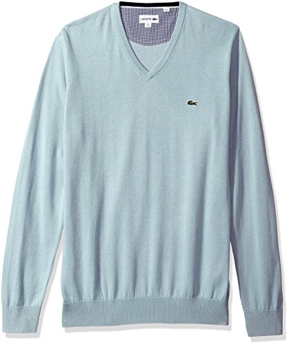 Lacoste Men's V Neck Cotton Jersey Sweater with Green Croc, Shower, 6 by Lacoste (Image #1)'